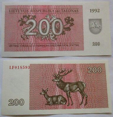 200 Talonas Banknote Litauen Lietuvos 1992 (126615)