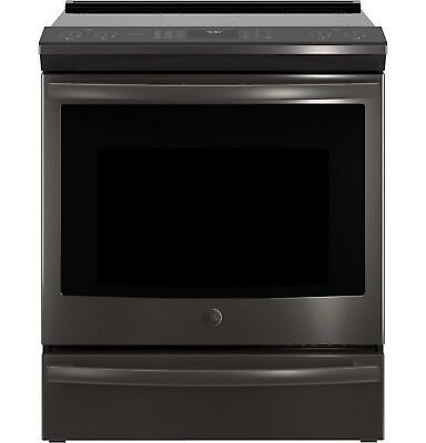 """GE Profile 30"""" Black Stainless Slide-In Induction Convection Range-PHS930BLTS"""