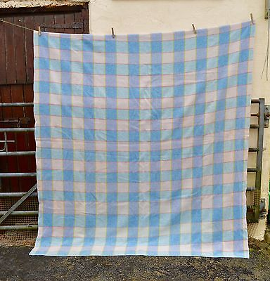 Vintage Antique Pure Welsh 100% Wool Checked Blue Blanket Throw 222 x 188cm