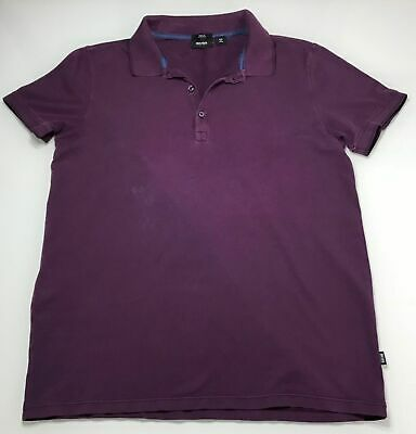 HUGO BOSS BLACK LABEL PURPLE SHORT SLEEVE POLO SHIRT SIZE L SLIM FIT STRETCH