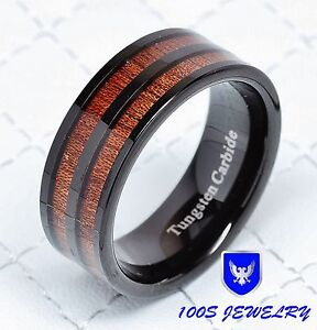 mens tungsten carbide ring black with double wood inlay