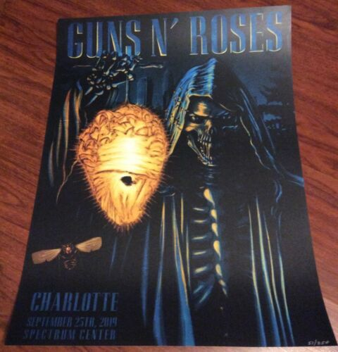GUNS N ROSES CHARLOTTE NC HORNETS  EVENT POSTER LITHO 9/25 ONLY 250 NUMBERED