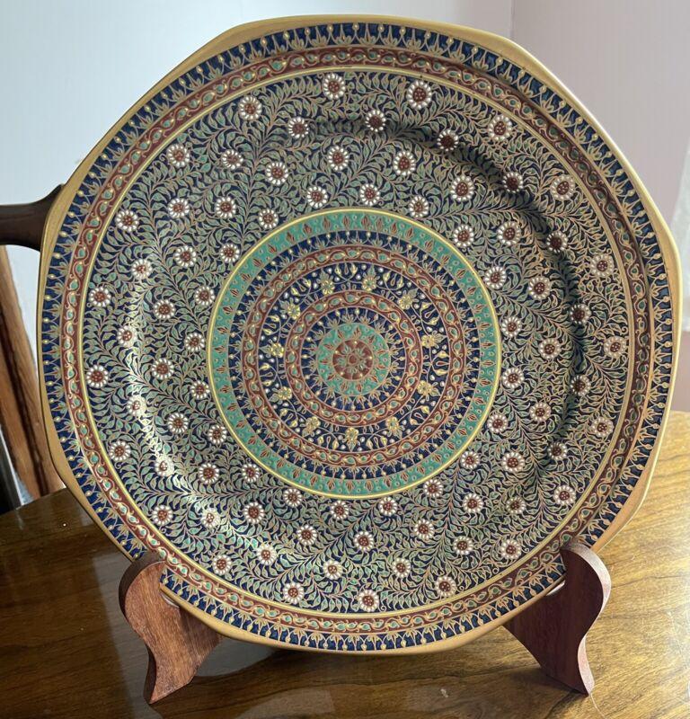 """Benjarong Fine Bone China Chakri Pattern 12"""" Platter Dish Hand Painted Thailand"""
