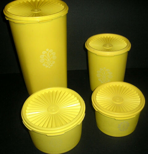 4 ReTRo Lemon Yellow Tupperware Servalier Canisters Storage Containers