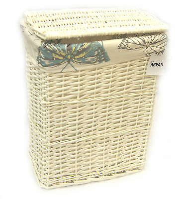 Arpan Medium White Wicker Laundry Basket With Lining -Vintage Butterfly 9358-MBT