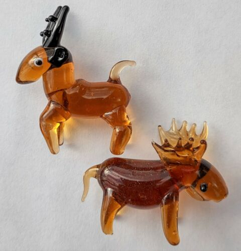 2Pc Hand Blown Miniature Glass Figures - Brown Moose & Deer w/Antlers