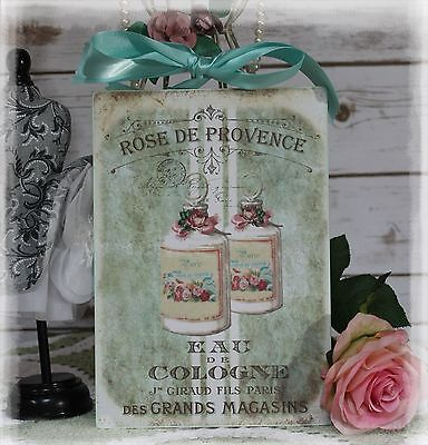 """Rose de Provence"" Lowly Chic French ~ Country Cottage style ~ Wall Decor Sign"