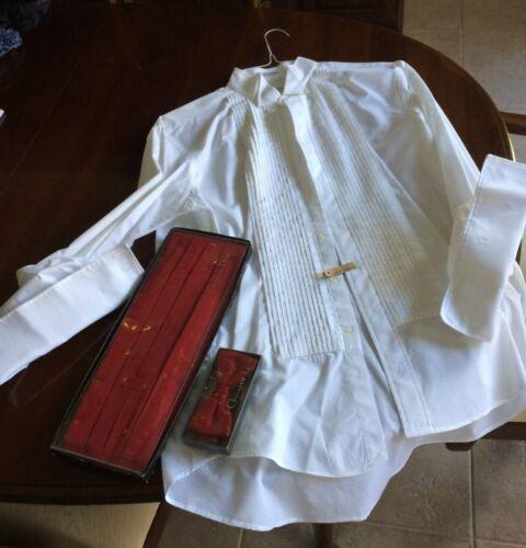 Christian Dior Vintage White Tuxedo Shirt, Red Silk Cummerbund and Tie