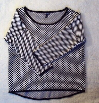 Express Womens Top Size L Black White 3/4 Sleeves Rounded Neck line Career Wear