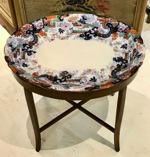 Antique Minton English Imari Platter Accent Tray Table