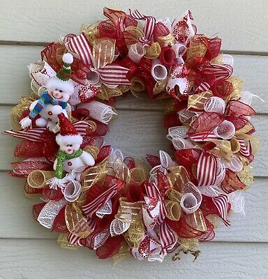 Deco Mesh Wreath CHRISTMAS Winter Snowman Decor Door Handmade Wall Red Gold