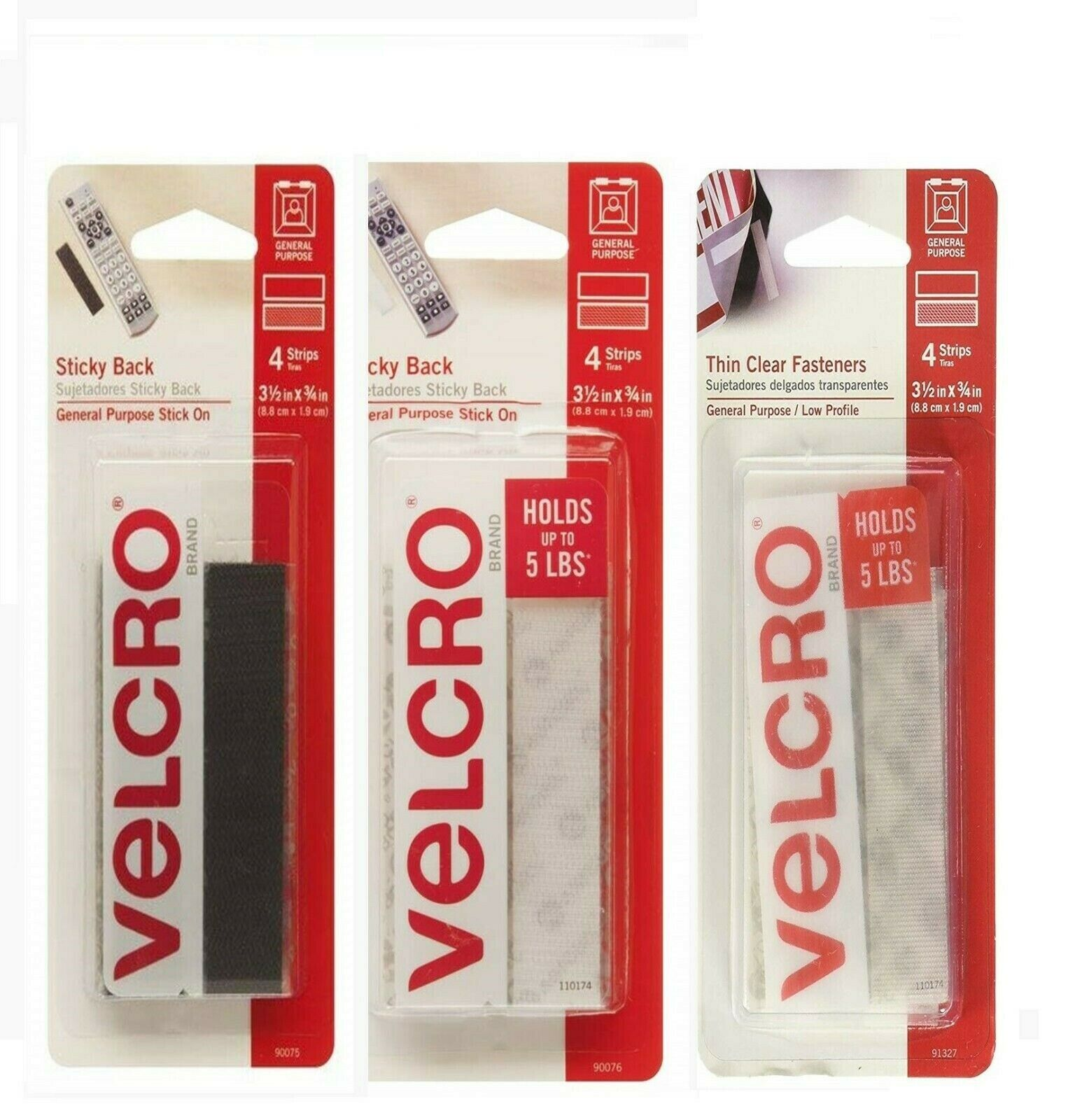 Sticky Back Tape 4 Pack VELCRO Peel & Stick Adhesive Hook Lo