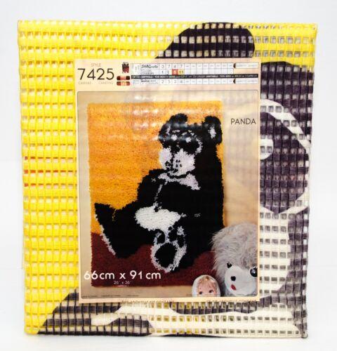 "Vintage Shagnelle Hook Rug Carpet Printed Canvas Panda 26"" x 36"" New #7425"