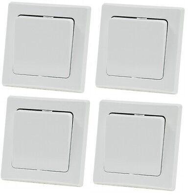 4 er Set DELPHI Wechsel Schalter 250V~ 10A mit Rahmen Unterputz weiß  ()