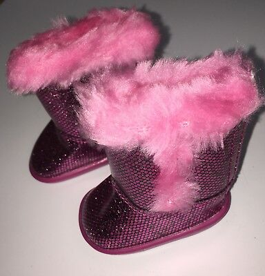 AMERICAN GIRL AUTHENTIC Pink Sparkle Boots Fur for Doll - New! Free shipping! - Sparkle Boots For Girls