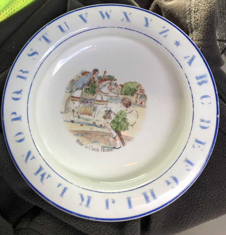 Antique Holdfast Baby Plate - Ride a Cock Horse to Banbury Cross Baby Child Dish