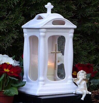 Grablaterne Grablampe Grabschmuck Grableuchte Grablicht Weiß mit Grabkerze