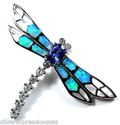 Tanzanite & Blue Fire Opal Inlay 925 Sterling Silver Dragonfly Pendant Necklace