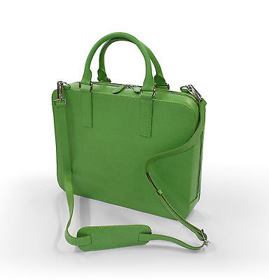 Leather iPad,Mini Laptop or Notebook Bag/Case/Briefcase by Laurige - Lime Green Briefcase Green Laptop Case