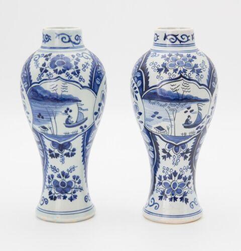 Pair Antique 19th Century Delft Dutch Chinoiserie Vases