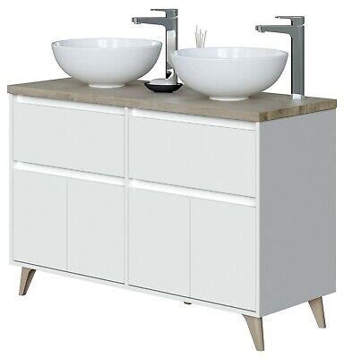 Mueble baño doble 2 cajones 4 puertas aseo roble y blanco 120x46...