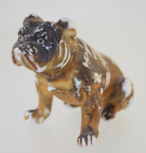 ANTIQUE GERMAN PAINTED BISQUE BULLDOG GERMANY