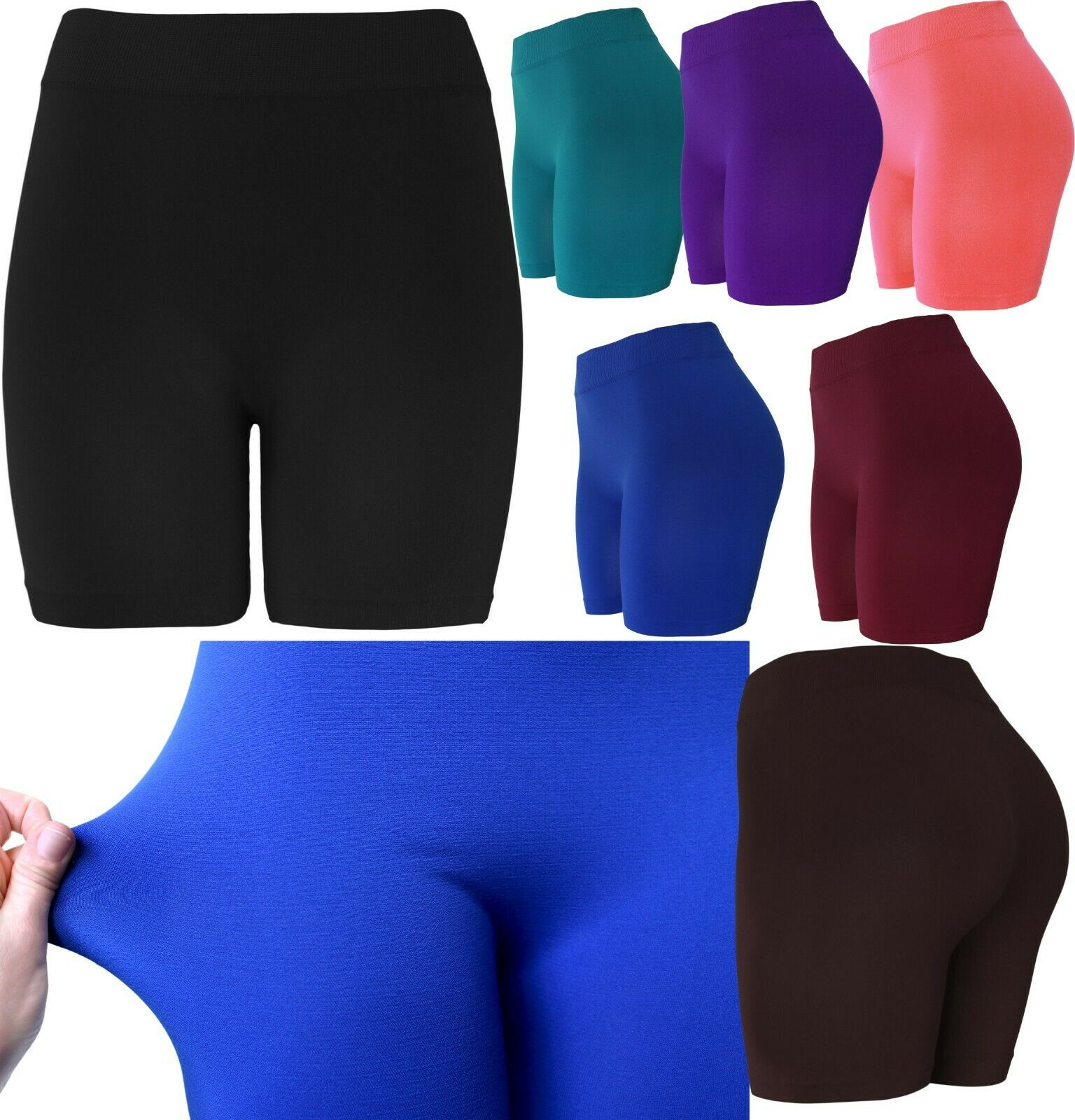 Women's 13″ Long Slip Shorts Seamless Biker Bermuda Gusset Shorts Clothing, Shoes & Accessories