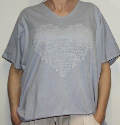 Mujer Algodón Camiseta 3D Corazón Presión Talla Grande Azul L-2XL