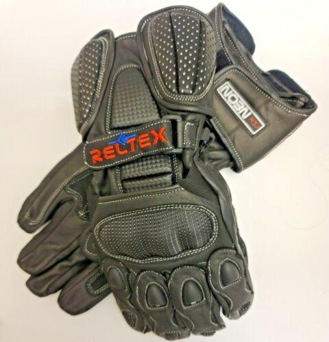 RELTEX+Black+Pro+Vented+Sports+Biker+CE+Leather+Motorbike+Motorcycle+Gloves+SML