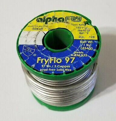 1lb Alpha Fry Lead Free Solid Solder .125 Fryflo 97 97 Tin 3 Copper 50445