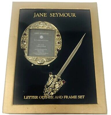 Jane Seymour St. Catherines Court Letter Opener Picture Frame Gold Rhinestones