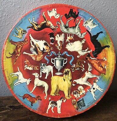 Vintage Springbok 500+ Piece Circular Jigsaw Puzzle Prize Dogs 1966 No. 2020