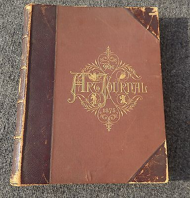 Antique Leather Journals - Antique Embossed Leather Bound BOOK Art Journal Printed in 1875