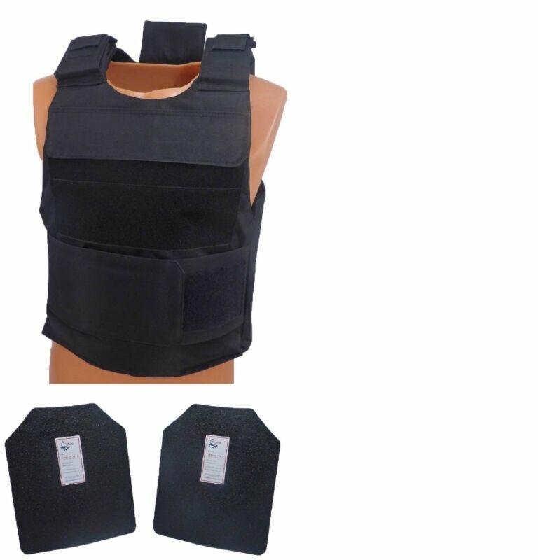 Level III AR500 Steel Body Armor Complete With Lightweight Vest - Black