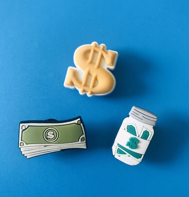 3pc Big Money Shoe charms for Crocs Money Stack, Dollar Bills Shoe Charms