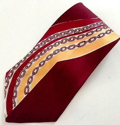1940s Mens Ties | Wide Ties & Painted Ties Vtg 1940s Swing Tie Men's Cravat Bond Acetate Maroon Chains Wide Rockabilly $74.95 AT vintagedancer.com