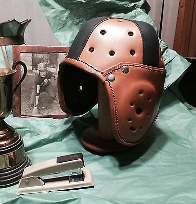 1920-30s Black Cross Heisman Style Leather Football Helmet 4 strap Adult Lg