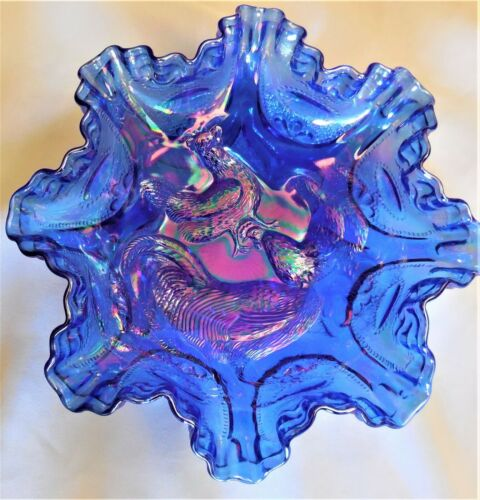 """VINTAGE DBS FENTON ELECTRIC BLUE CARNIVAL GLASS RUFFLED RIM 10"""" BOWL FARMYARD"""