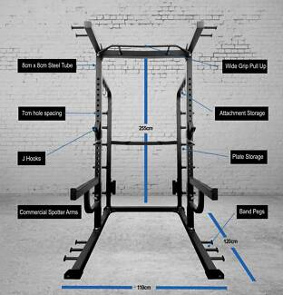 New Half Rack Perfect For Any Commercial Gym - 75X75mm Tubing