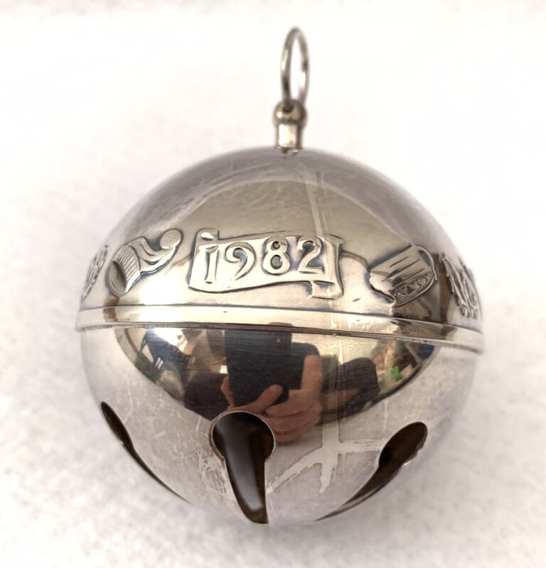 1982 Wallace Sterling Silver Plate Sleigh Bell Ornament Warmth of Christmas Vtg