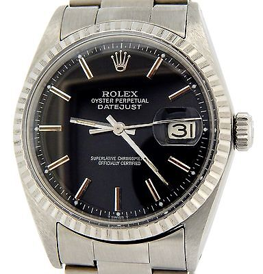 Rolex Oyster Perpetual Datejust Men Stainless Steel Watch Oyster Black Dial 1603