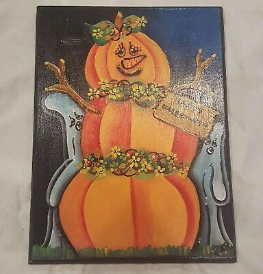 Pumpkin painted wood wall decor for fall decoration (Pumpkin Paintings For Halloween)