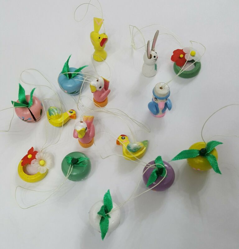 15 Vintage Wood Wooden Easter Spring Christmas Tree Ornaments