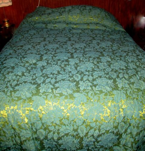 Vintage Bedspread and Matching Drapes Set..Spectacular Colors, Green on Green