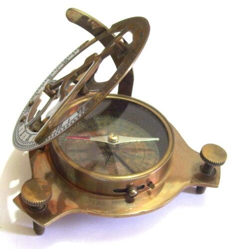 "Brass Antique Style 3"" Sundial compass. USA Seller!!"
