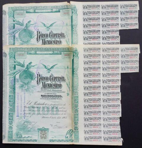 "Mexico - Banco Central Mexicano - 1905 - share A 100 pesos ""blueberry"" 2x"