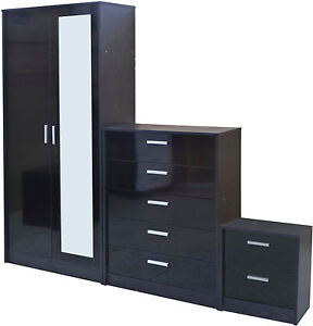 New High Gloss 2 Door Mirrored Wardrobe Bedroom Furniture Set Chest And Bedside
