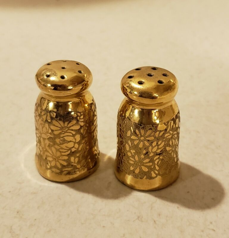 ANTIQUE GOLD OVER PORCELAIN FLORAL SALT & PEPPER SHAKERS!
