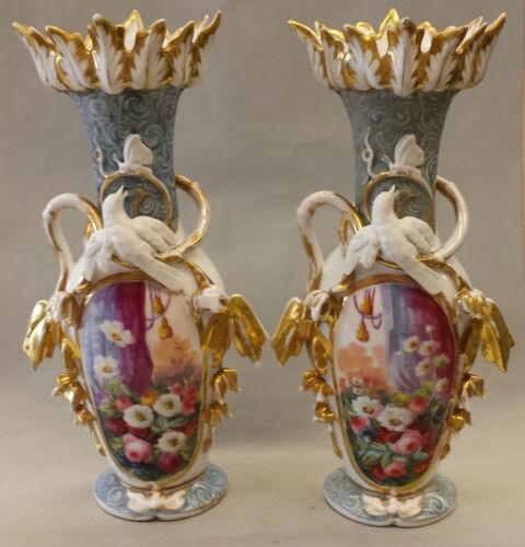 Old Paris Pair of Vases  c. 1850, French porcelain