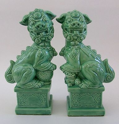 VTG Pair Green Foo Dogs